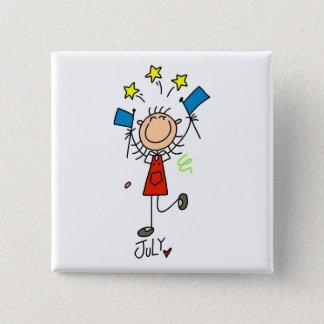 Girl's July Birthday Button
