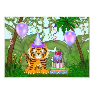 "Girls Jungle Bengal Tiger Birthday Invitation 5"" X 7"" Invitation Card"