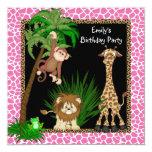 Girls Jungle Safari Birthday Party Custom Announcements