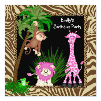 """Girls Jungle Safari Birthday Party Invitations 5.25"""" Square Invitation Card"""