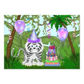 "Girls Jungle White Tiger Birthday Party Invitation 5"" X 7"" Invitation Card"