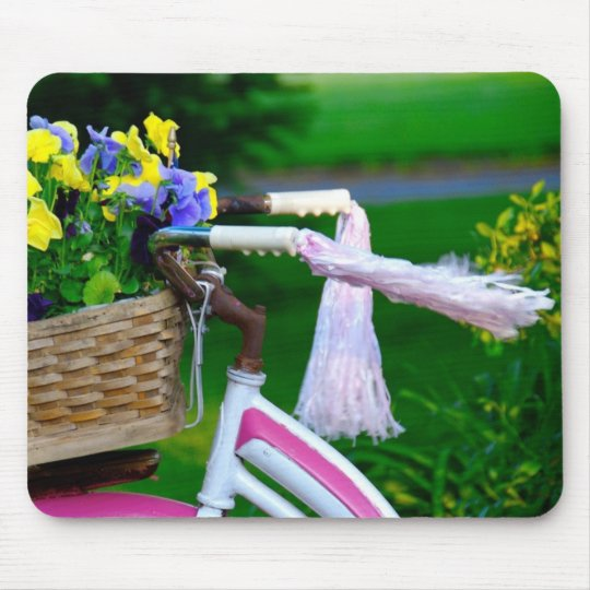 Girls Just Wanna Have Fun, Pink Girls Bicycle Mouse Pad