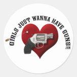Girls Just Wanna Have Guns (sticker) Classic Round Sticker
