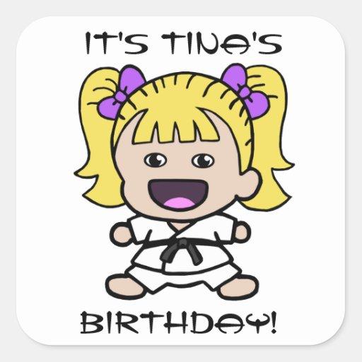 Girl's Karate Birthday Sticker