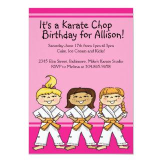 Girls Karate Themed Birthday Party Invitations