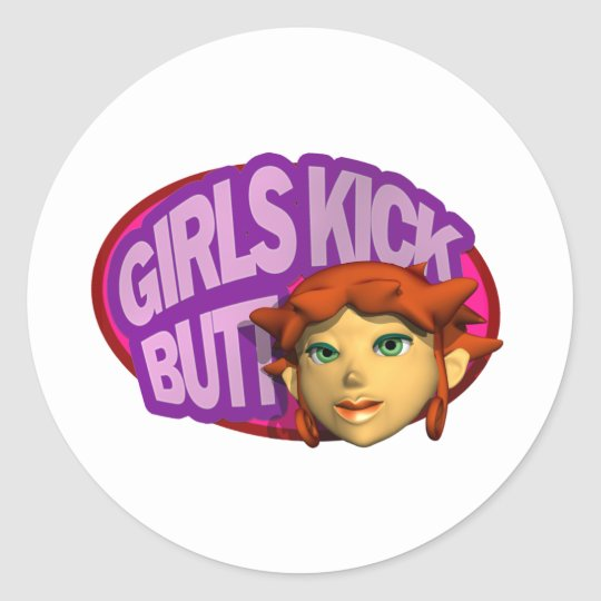 Girls Kick Butt Classic Round Sticker