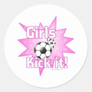 Girls Kick it Round Stickers