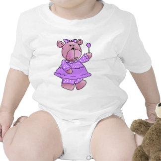 Girls Kid's Purple Lollipop Bear Baby Creeper