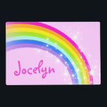 "Girls kids rainbow named pink laminated placemat<br><div class=""desc"">Colorful girls pink rainbow hues wipe-able personalized kids place mat. Customize with the name of your choice,  this example reads Jocelyn. Ideal for kids to take their place at the dining table. Art and design by Sarah Trett.</div>"