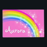 """Girls kids rainbow named pink laminated placemat<br><div class=""""desc"""">Colorful girls bright pink rainbow hues wipe-able personalized kids place mat. Customize with the name of your choice,  this example reads Aurora. Ideal for colorful kids to take their place at the dining table. Art and design by Sarah Trett.</div>"""