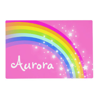 Girls kids rainbow named pink laminated placemat