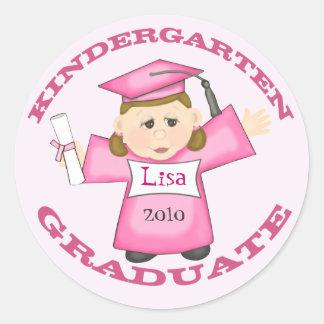 Girl's Kindergarten Graduation Classic Round Sticker