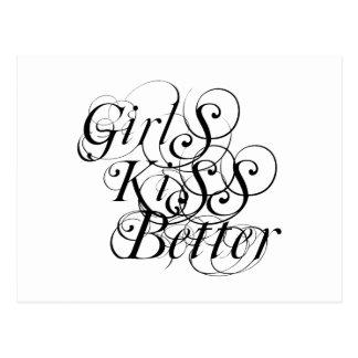 Girls Kiss Better Lesbian Gift Postcard