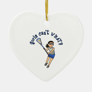 Girls Lacrosse Blue Ceramic Ornament