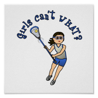 Girls Lacrosse Blue Posters