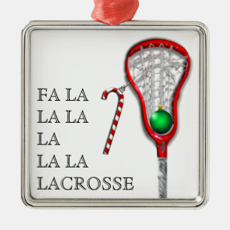 girls lacrosse gifts square metal christmas ornament