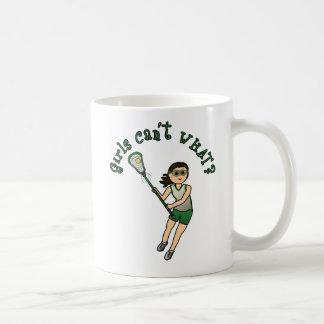 Girls Lacrosse Green Classic White Coffee Mug