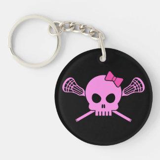 Girl's Lacrosse Pink Skull & Sticks Keychain