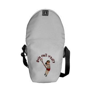Girls Lacrosse Red Messenger Bag
