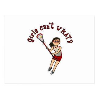 Girls Lacrosse Red Postcard