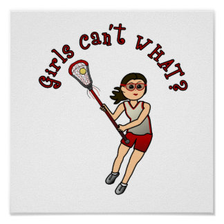 Girls Lacrosse Red Poster