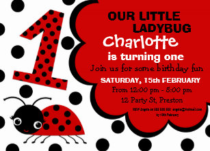 Ladybug 1st birthday invitations announcements zazzle girls ladybug 1st birthday party invitation filmwisefo