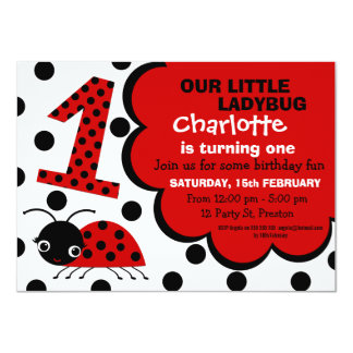 Girls Ladybug 1st Birthday Party Invitation
