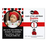 Ladybug birthday invitations zazzle girls ladybug 1st birthday party invitation filmwisefo Choice Image