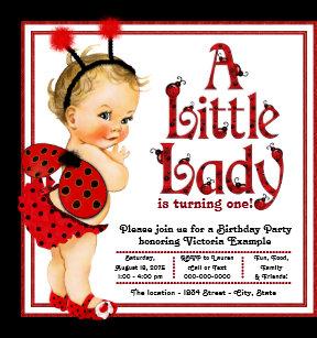Ladybug 1st birthday invitations announcements zazzle girls ladybug 1st birthday party invitations filmwisefo