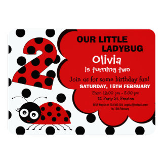 Girls Ladybug 2nd Birthday Party Invitation