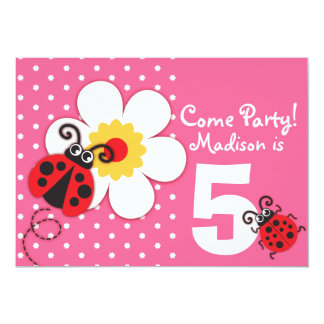 Girls ladybug party pink invitation