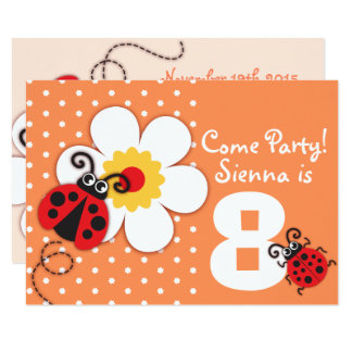 Girls ladybug party purple invitation