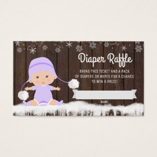 Girls Lavender Snowflake Diaper Raffle Tickets