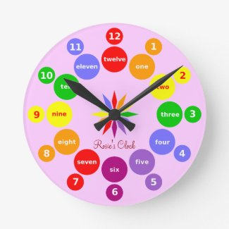 Girls Learn Numbers in English Pink Wall Clock