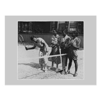 Girls learn to play tennis postcard