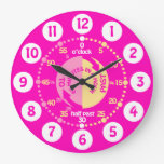 Girls learn to tell time bright pink wall clock