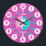 """Girls learn to tell time pink aqua name clock<br><div class=""""desc"""">Colorful girls graphic wall clock color coded to help assist your child to read a clock. This colorful teaching aid includes minutes and hours and past and to making child&#39;s play of telling the time. Clock color coded in pinks, aqua and white featuring a little white butterfly and can be...</div>"""