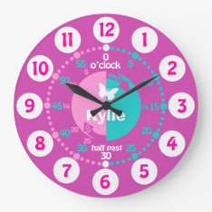 Girls learn to tell time pink aqua name clock at Zazzle