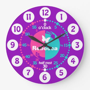 Girls Learn To Tell Time Pink Aqua Name Clock by Mylittleeden at Zazzle