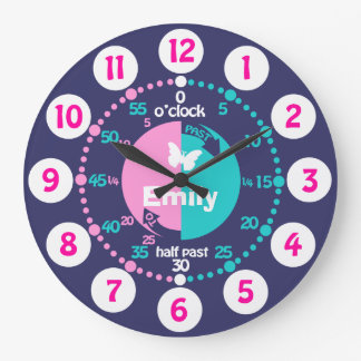 Girls learn to tell time pink blue aqua name clock
