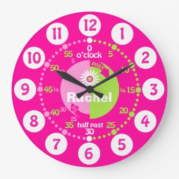 Girls Learn To Tell Time Pink Green Name Clock by Mylittleeden at Zazzle