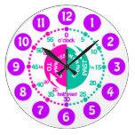 Girls learn to tell time pink purple aqua clock