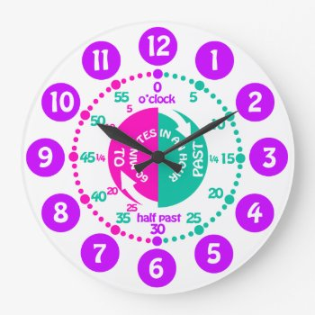 Girls Learn To Tell Time Pink Purple Aqua Clock by Mylittleeden at Zazzle