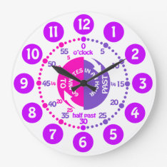 Girls learn to tell time pink purple kids clock at Zazzle