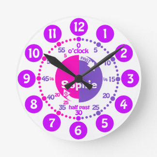 Girls learn to tell time pink purple name clock