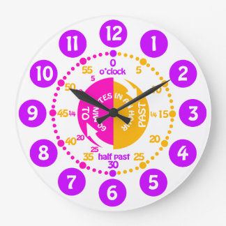 Girls learn to tell time pink purple wall clock