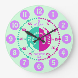 Girls learn to tell time purple mint wall clock