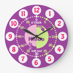Girls learn to tell time purple pink name clock at Zazzle