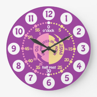 Girls learn to tell time purple wall clock