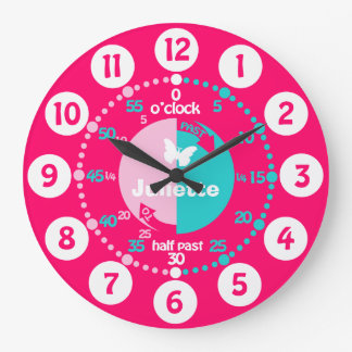 Girls learn to tell time red pink aqua name clock